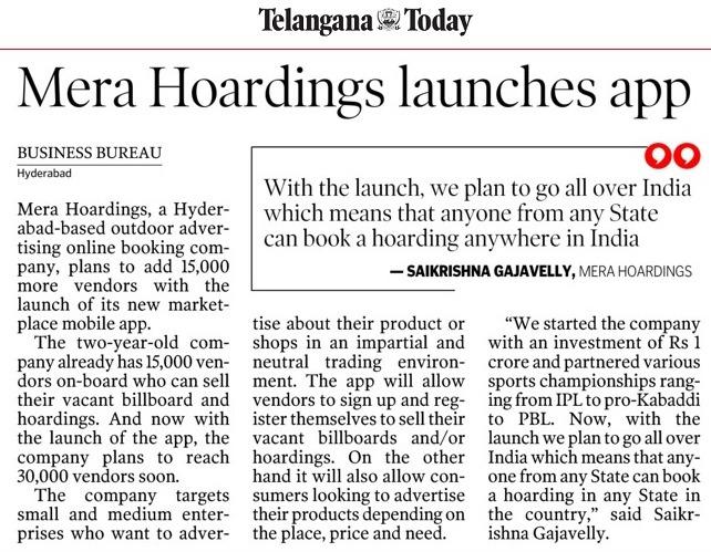 Telangana Today, mERA HOARDINGS